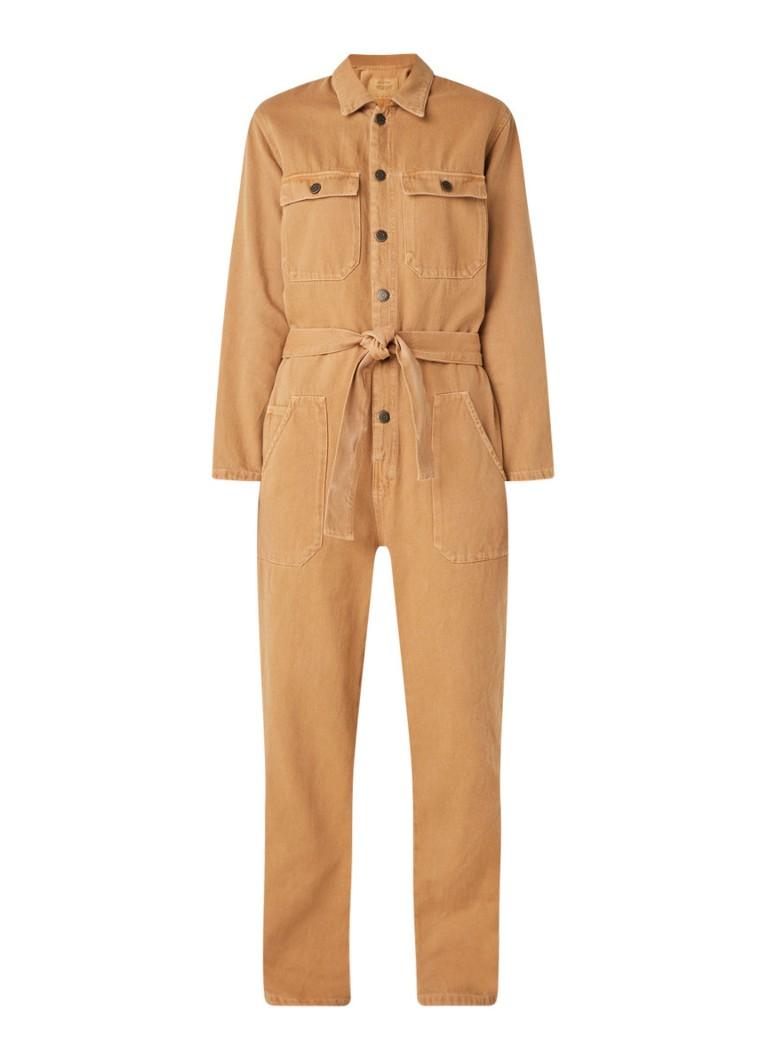 escanear encender un fuego Están deprimidos  American Vintage Straight fit jumpsuit van denim met strikceintuur • Camel  • de Bijenkorf