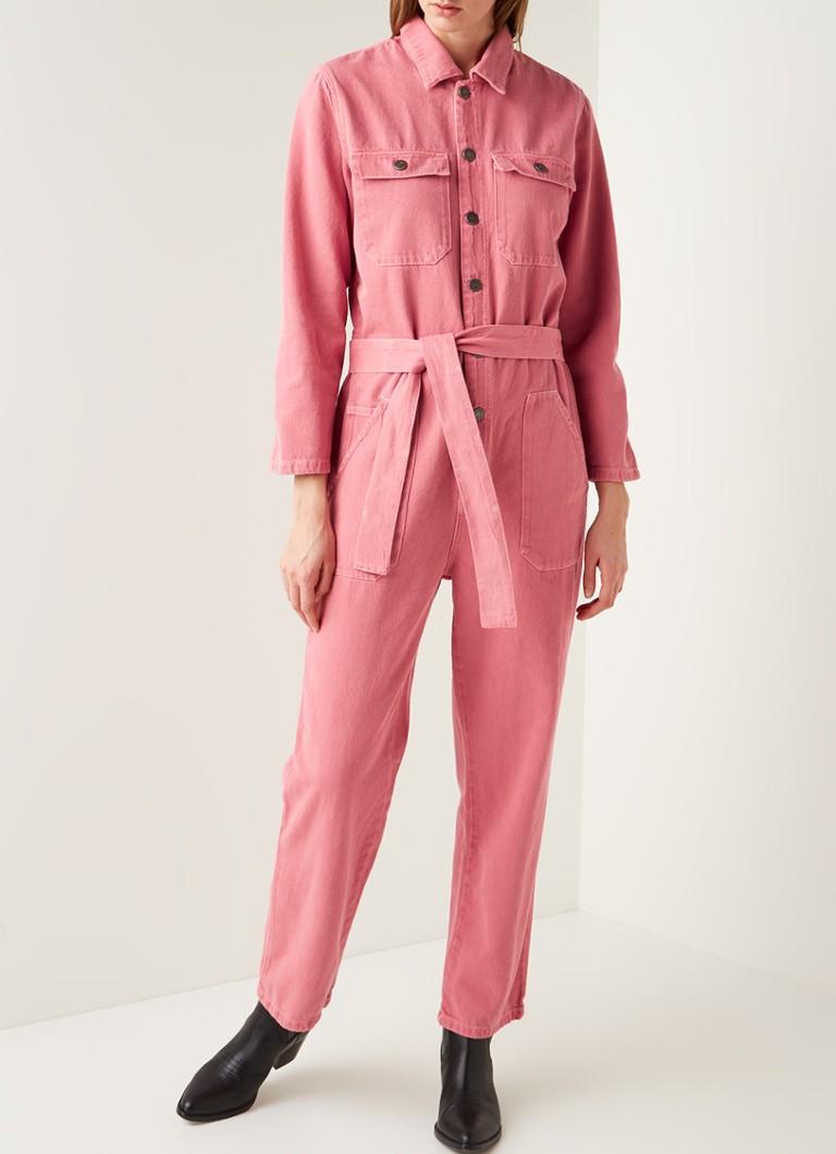Huerta efecto harto  American Vintage Straight fit jumpsuit van denim met strikceintuur • Roze •  de Bijenkorf
