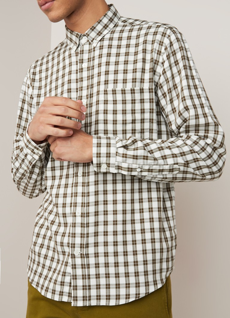 Ami - Regular fit button down-overhemd met ruitdessin - Legergroen