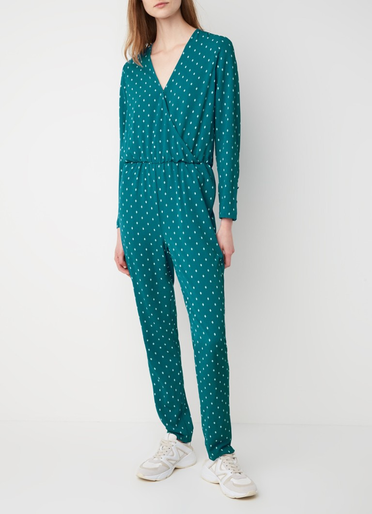 Another-Label - Alexis Argyle jumpsuit van crêpe met dessin - Turquoise