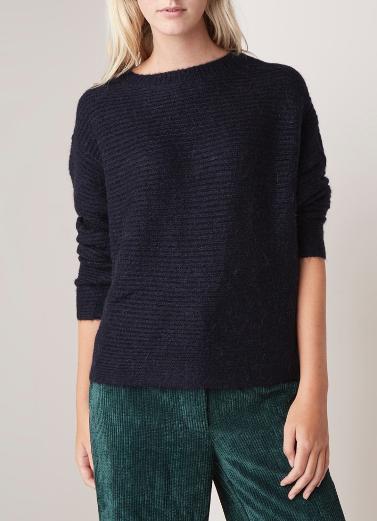 Another-Label - Vauvilliers loose fit pullover in alpaca blend - Donkerblauw