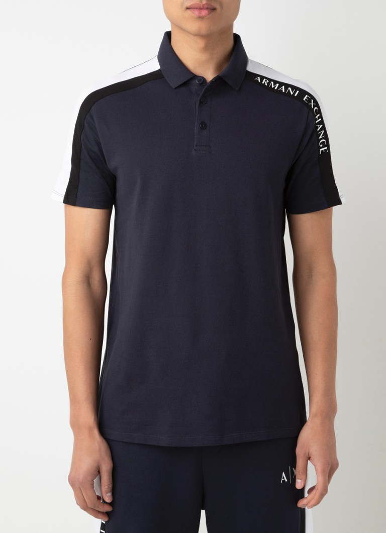 Armani Exchange - Regular fit polo met streepdetail - Donkerblauw