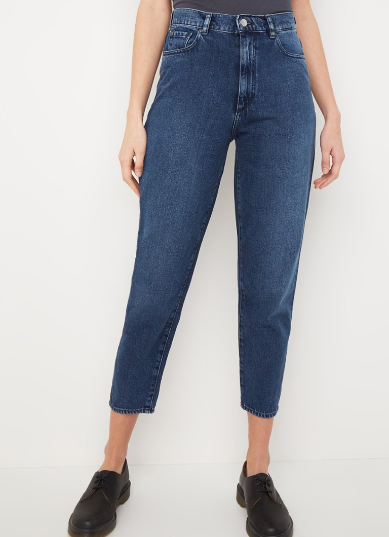 ARMEDANGELS - Mairaa high waist tapered fit cropped jeans met donkere wassing - Indigo