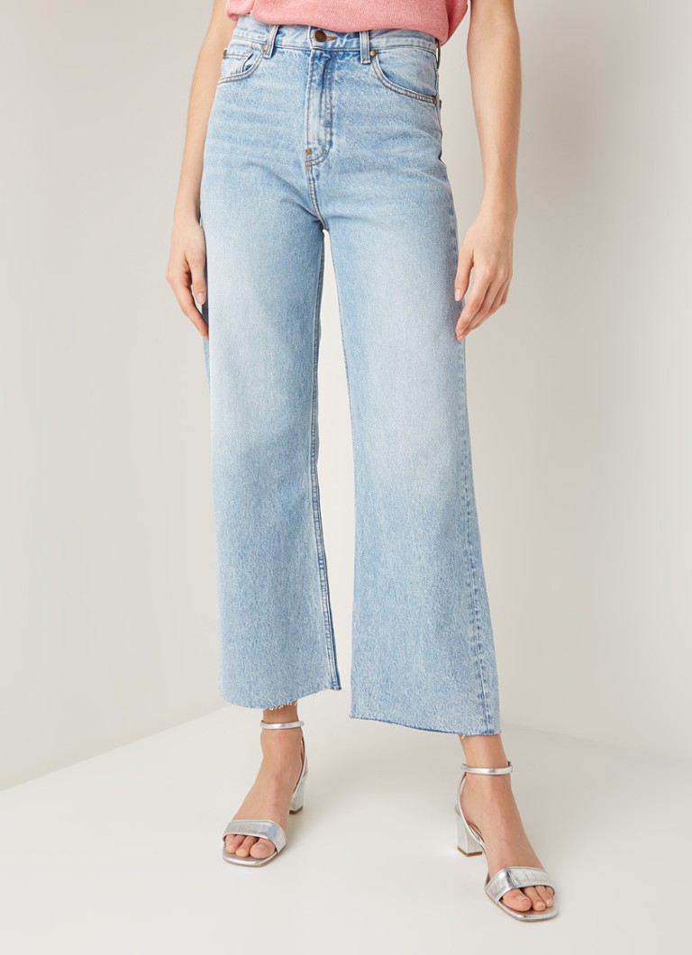 ba&sh - Alix high waist wide fit cropped jeans in lichte wassing - Indigo