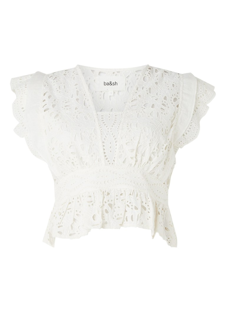 ba&sh - Bawdy cropped top van broderie - Gebroken wit