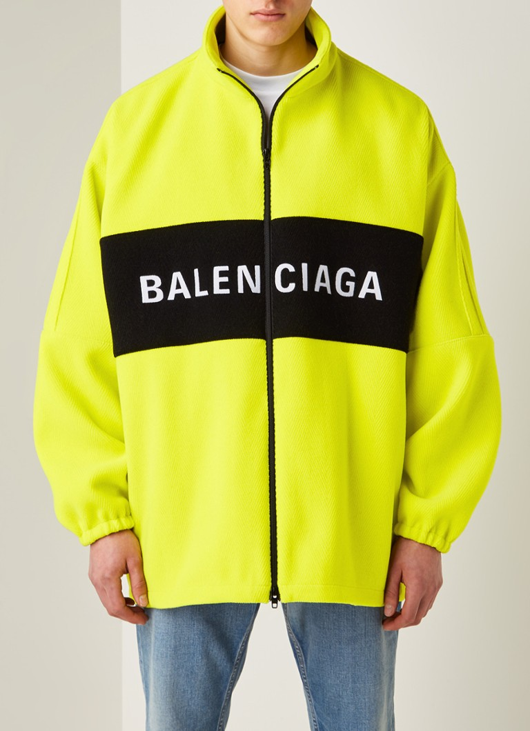 Balenciaga - Jack in wolblend met colourblocking en logoprint - Neongeel