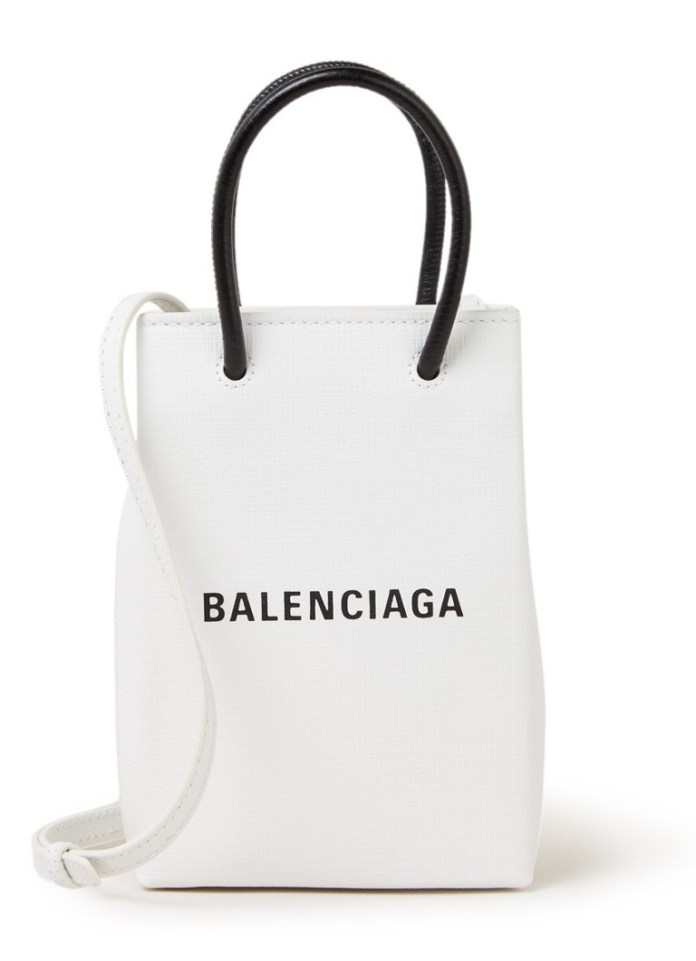 Balenciaga - Shopping Phone Holder crossbodytas van kalfsleer - Wit