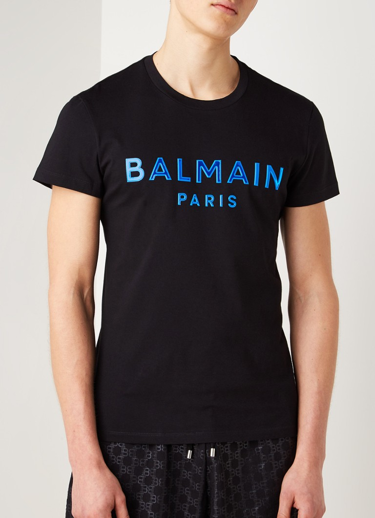 Balmain - Silicone T-shirt met logo applicatie - Zwart