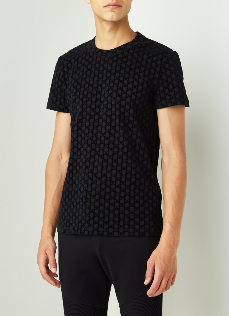 Balmain - Slim fit T-shirt met flock logoprint - Zwart