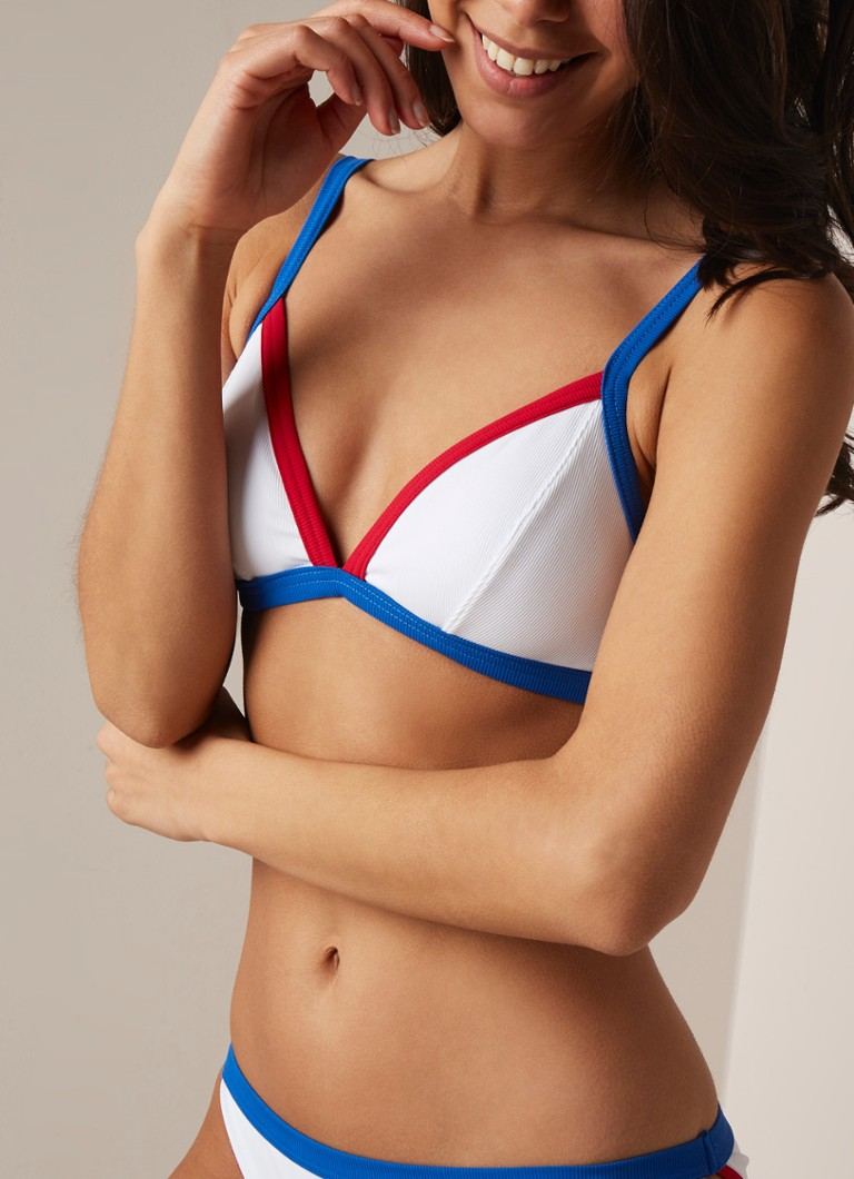 Banana Moon - Iconic triangel bikinitop met colour blocking - Wit