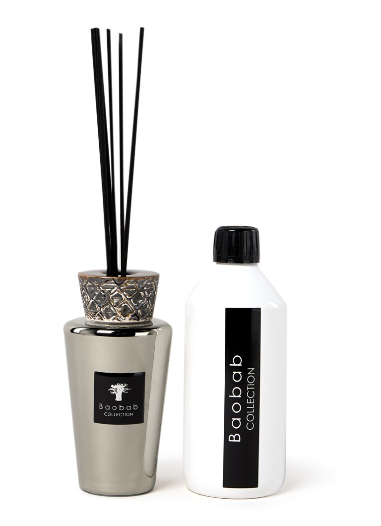 Baobab Collection - Mini Totem Platinum geurstokjes 250 ml met navulling 500 ml - Zilver