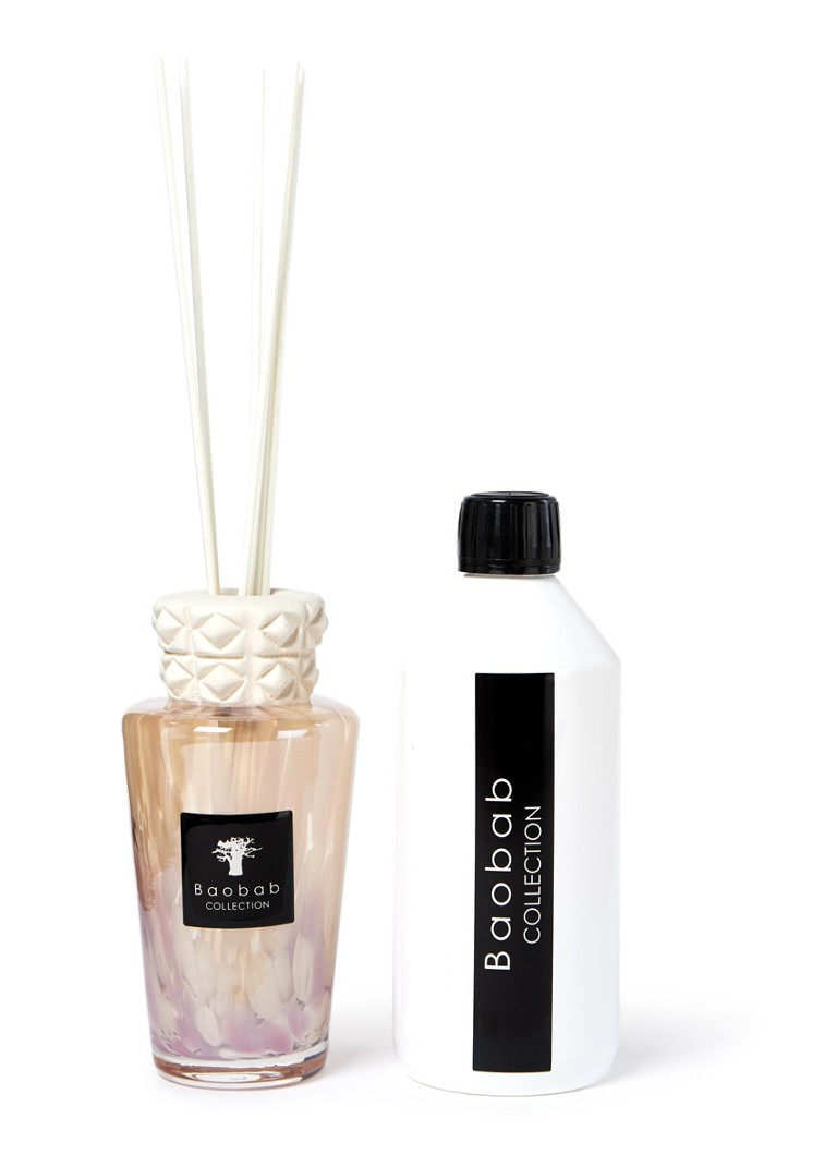 Baobab Collection - White Pearls Mini Totem geurstokjes 250 ml met navulling 500 ml - Wit