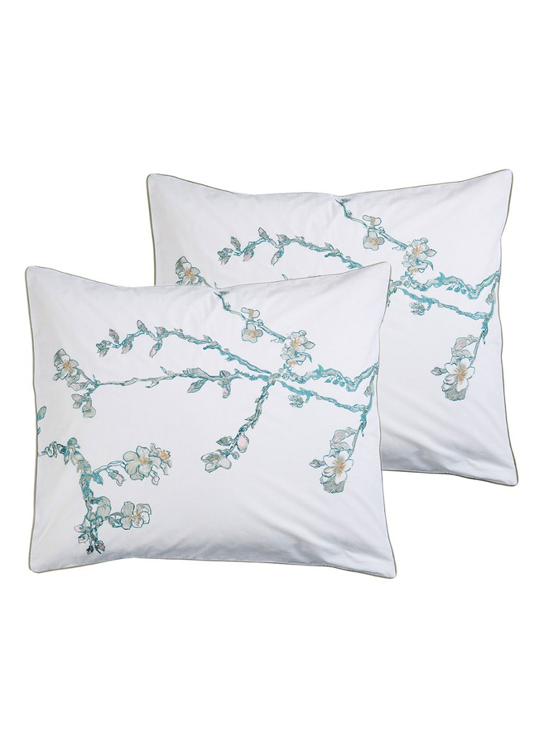 Beddinghouse - Embroidered Blossom kussensloop van katoen perkal 200TC in 2-pack - Gebroken wit