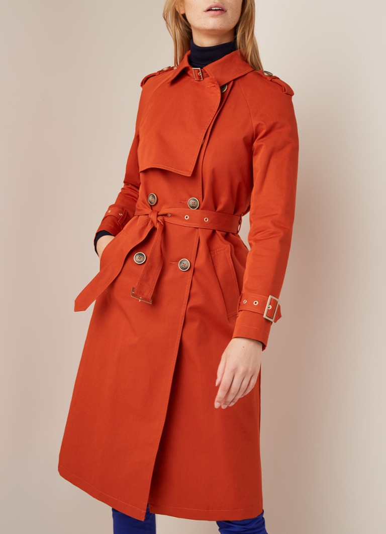 Benetton - Double-breasted trenchcoat in katoenblend - Oranje