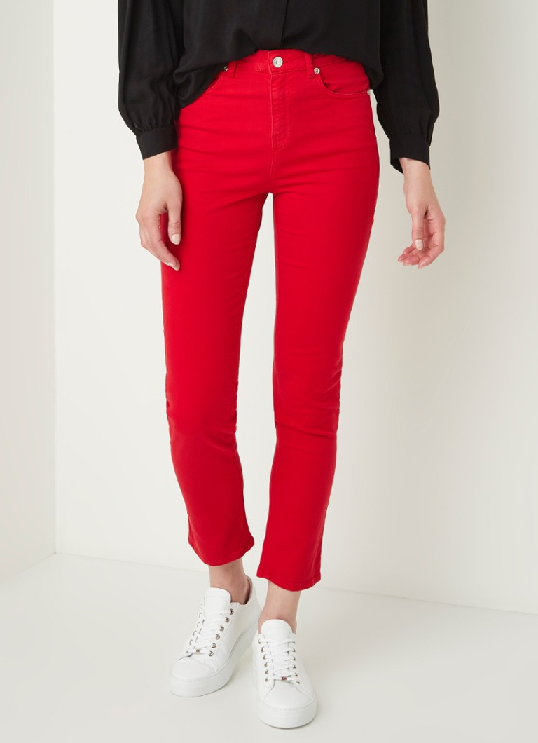 Benetton - High waist slim fit cropped jeans met stretch - Rood