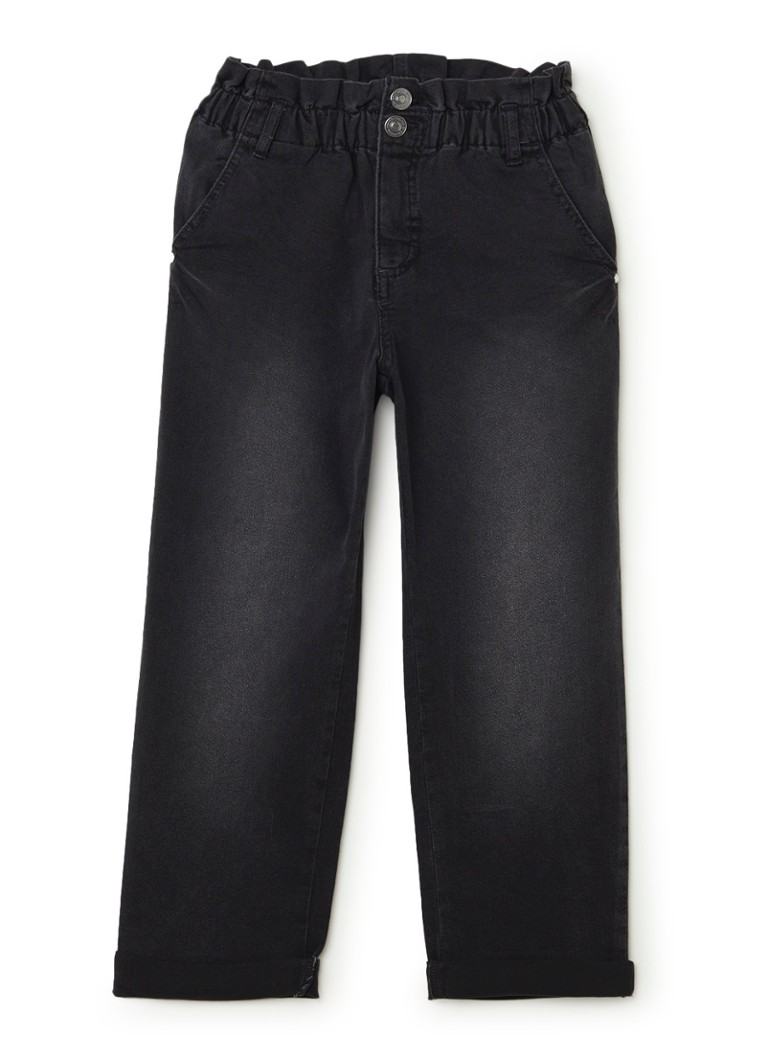Benetton - High waisted cropped jeans met stretch - Antraciet
