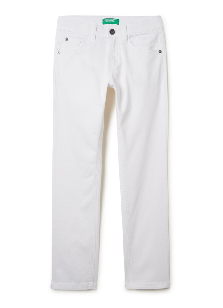Benetton - Mid waist straigt fit jeans  - Wit