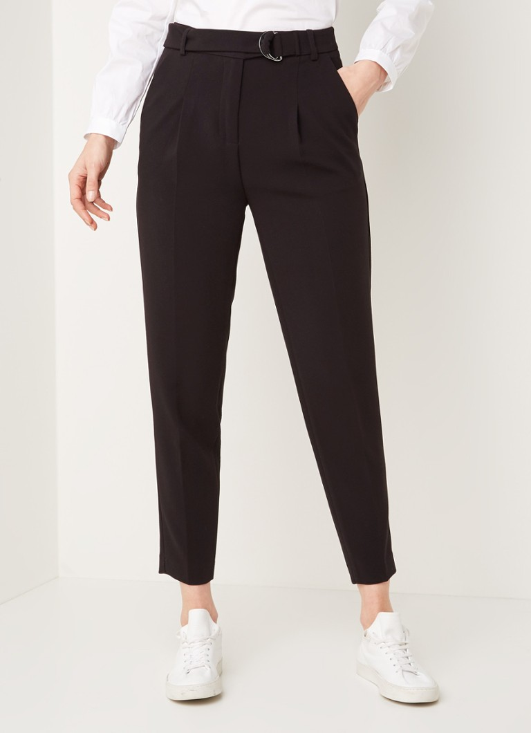 Benetton - Slim fit pantalon met persplooi - Zwart