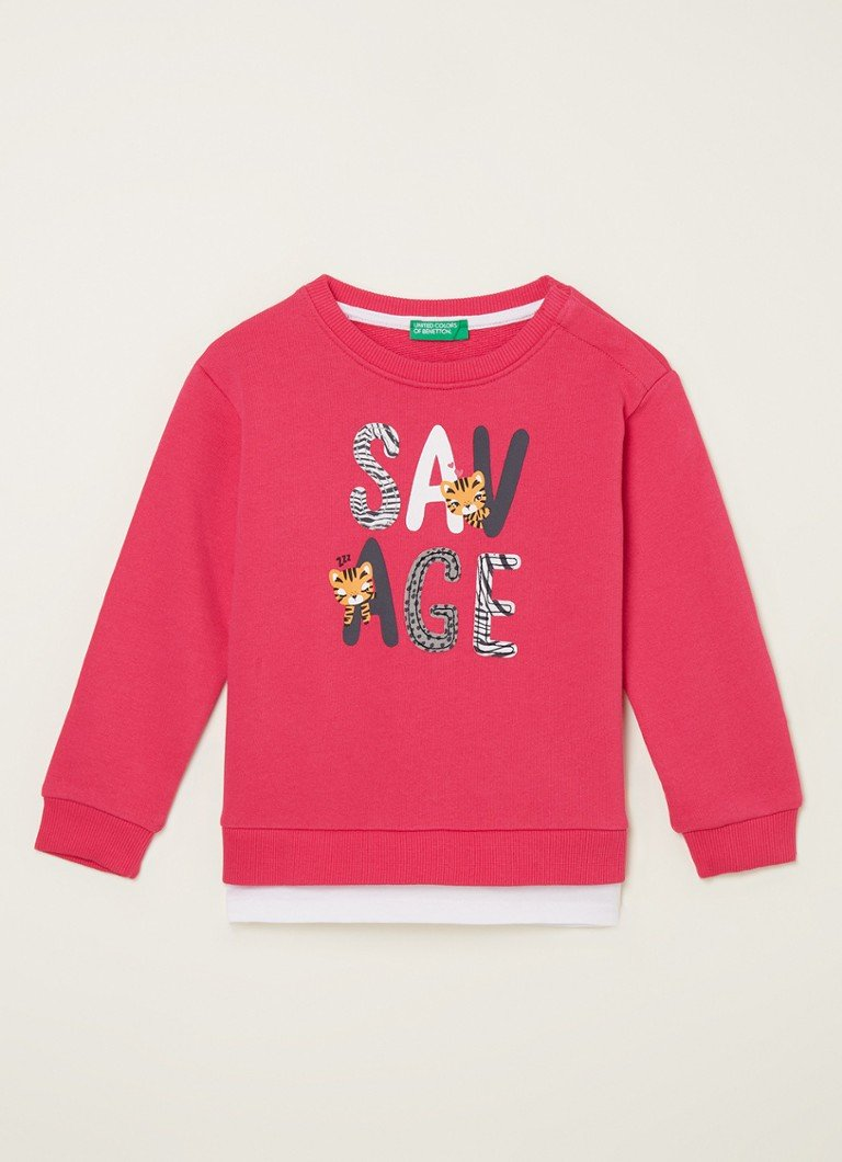 Benetton - Sweater met frontprint  - Fuchsia
