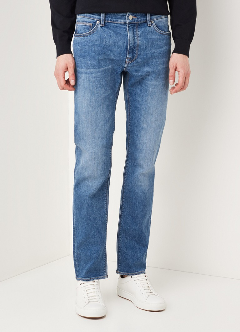 BOSS - Maine3 straight fit jeans met stretch - Indigo