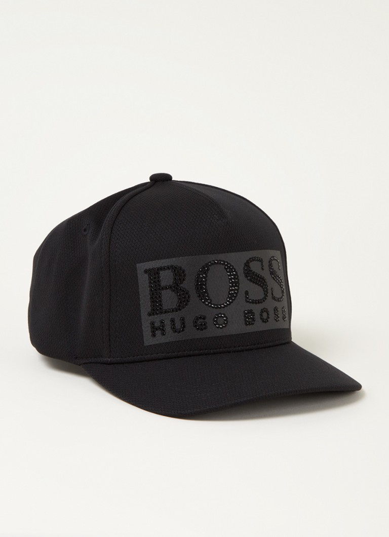 BOSS - Pet met strass logoprint - Zwart