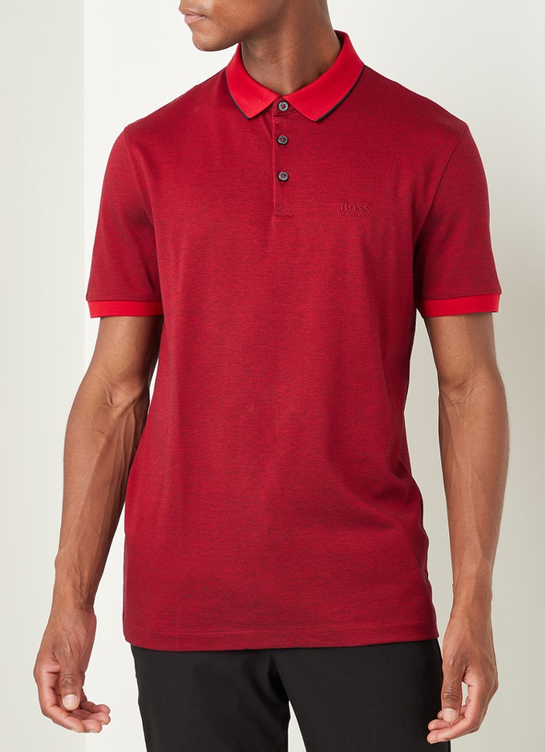 BOSS - Prout regular fit polo met logo - Rood