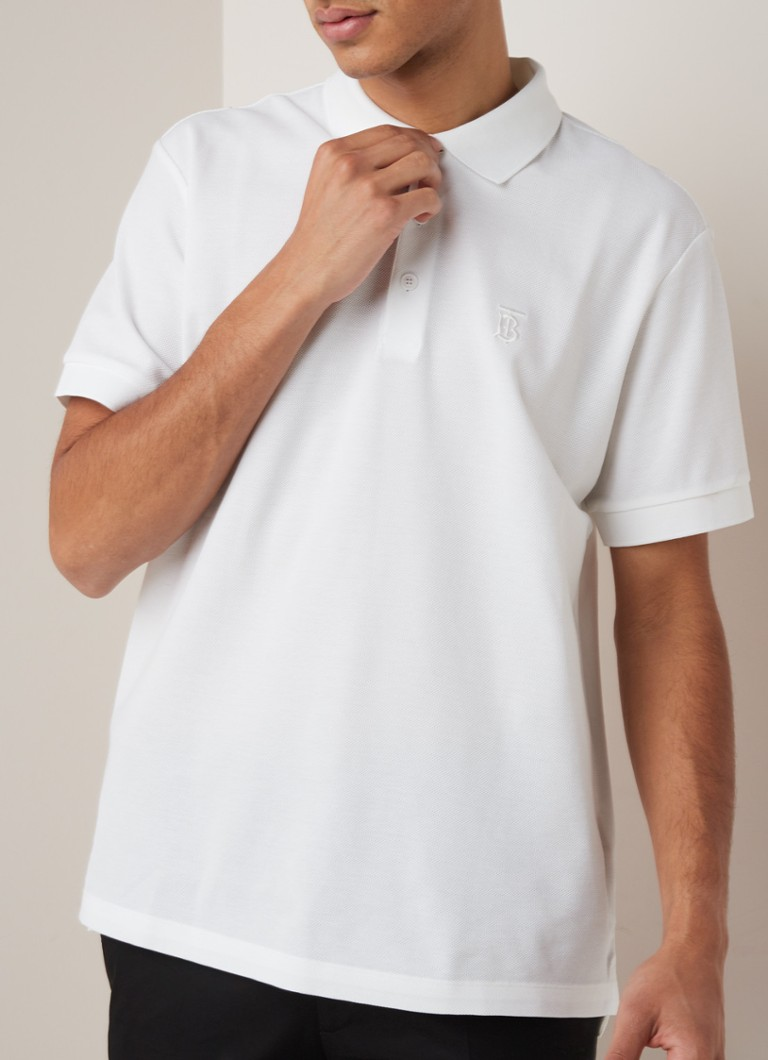 BURBERRY - Eddie regular fit polo van piqué katoen - Wit