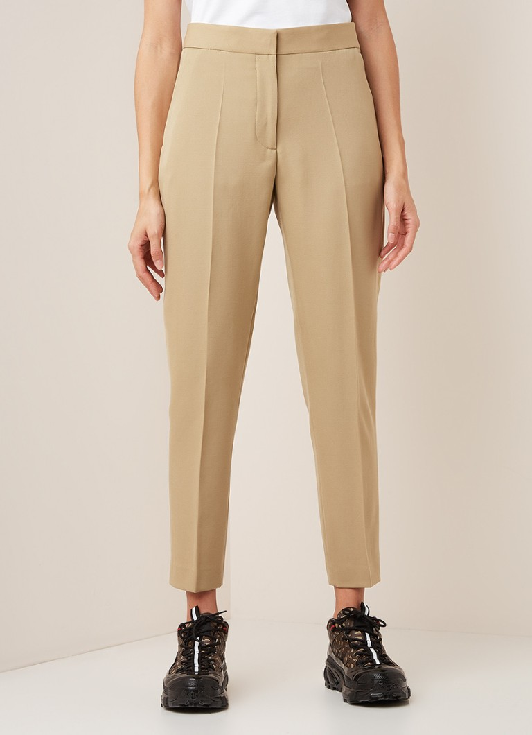BURBERRY - High waist tapered fit pantalon van wol - Beige