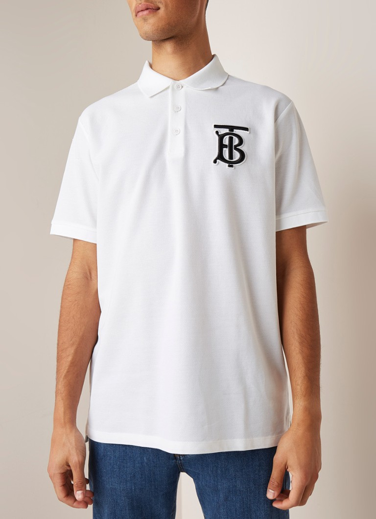BURBERRY - Warren regular fit polo met logoborduring - Wit