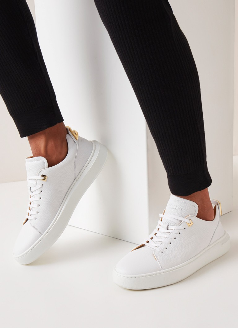 Buscemi - Uno Low sneaker van leer - Wit - voorkant