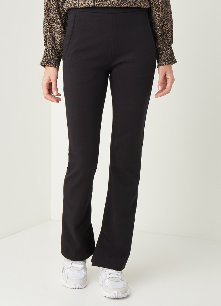 by-bar - Lowie high waist flared fit pantalon met splits - Zwart