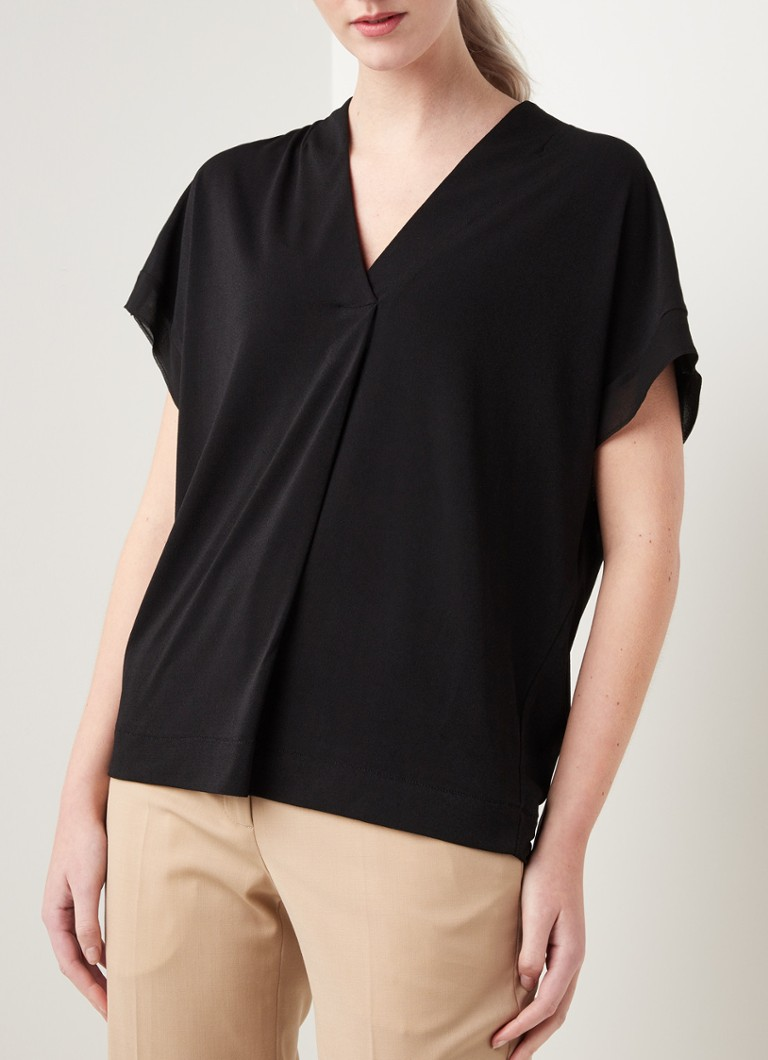 By Malene Birger - Oliverza loose fit top met V-hals - Zwart