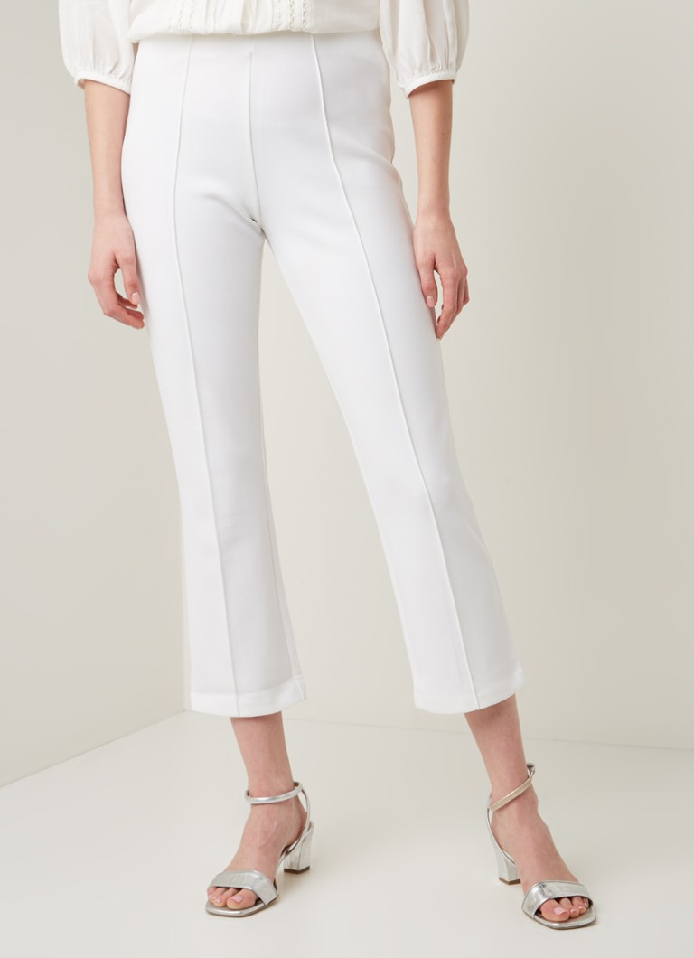By Malene Birger - Viggie high waist slim fit cropped pantalon met persplooi - Wit