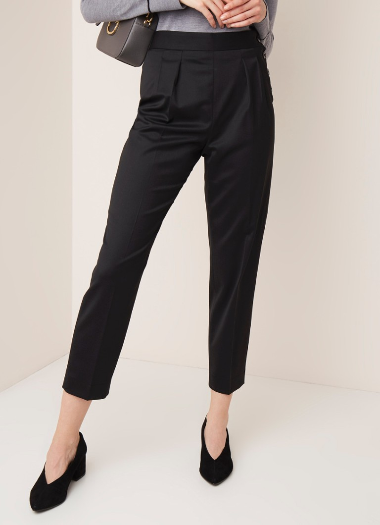 Calvin Klein - Calvin Klein High waist tapered fit pantalon in wolblend - Zwart