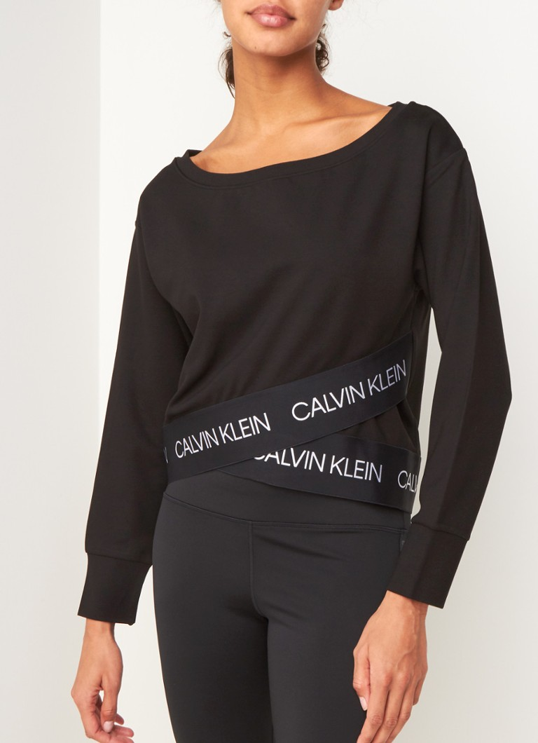 Calvin Klein - Cropped trainings sweater met logoband - Zwart
