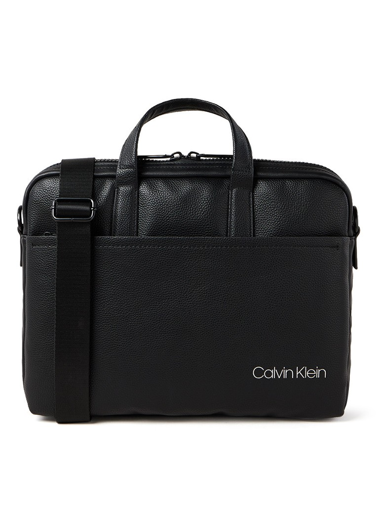 Calvin Klein - Direct businesstas van leer met 12 inch laptopvak - Zwart