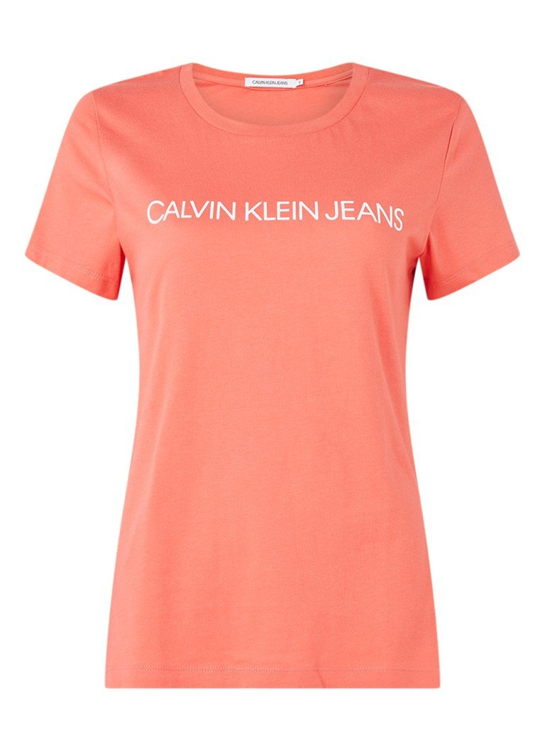 Calvin Klein - Institutional T-shirt met logoprint - Koraalroze