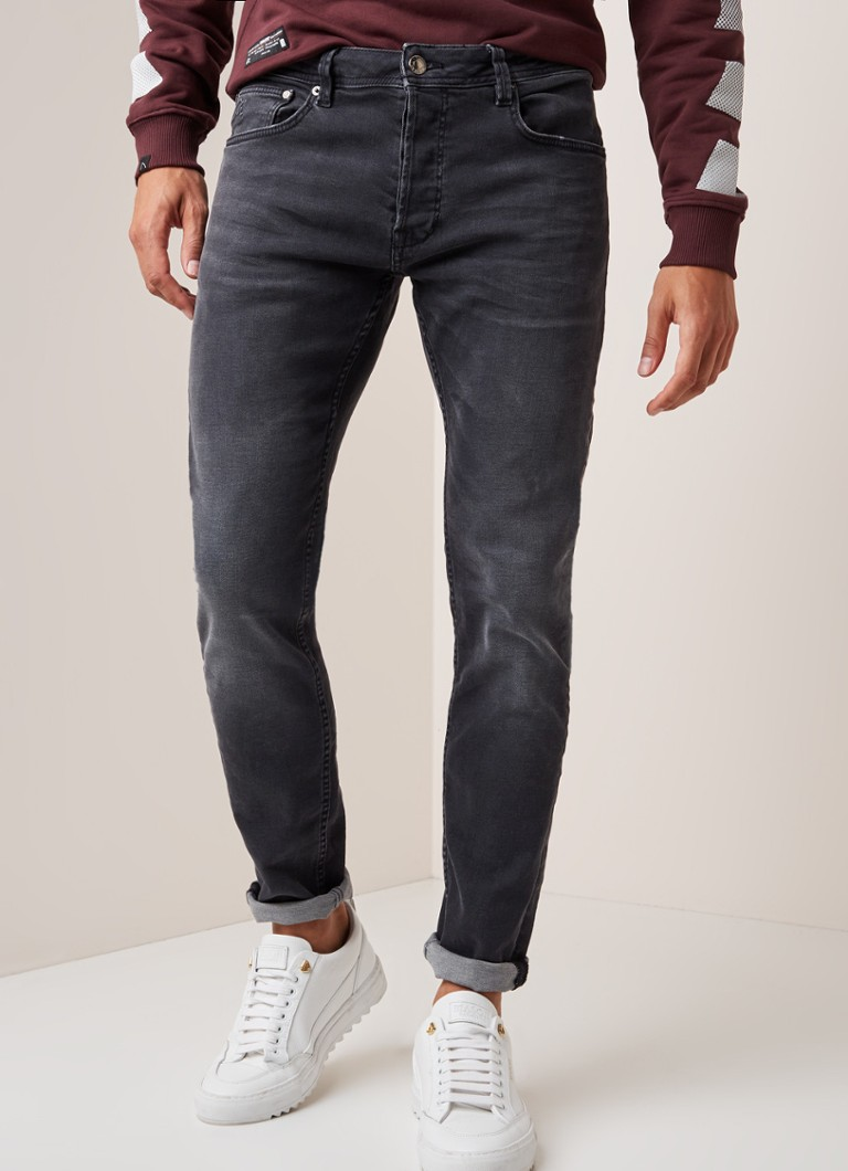 CHASIN' - Ego Pinto low waist slim fit jeans met faded look - Donkergrijs