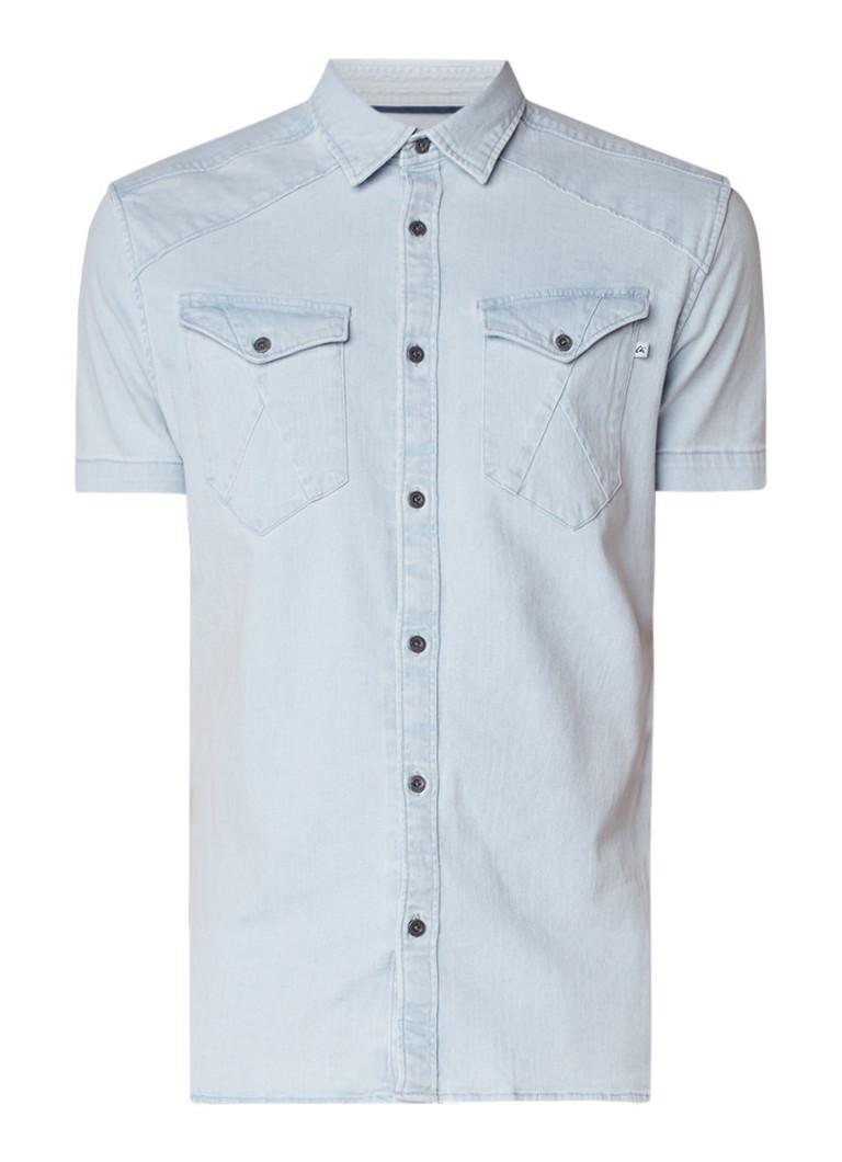 Slim Fit Denim Overhemd.Chasin Enid Slim Fit Denim Overhemd Met Korte Mouw De Bijenkorf