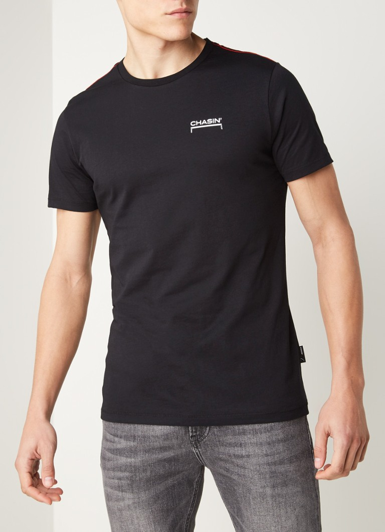 CHASIN' - Louay T-shirt met logo backprint - Zwart