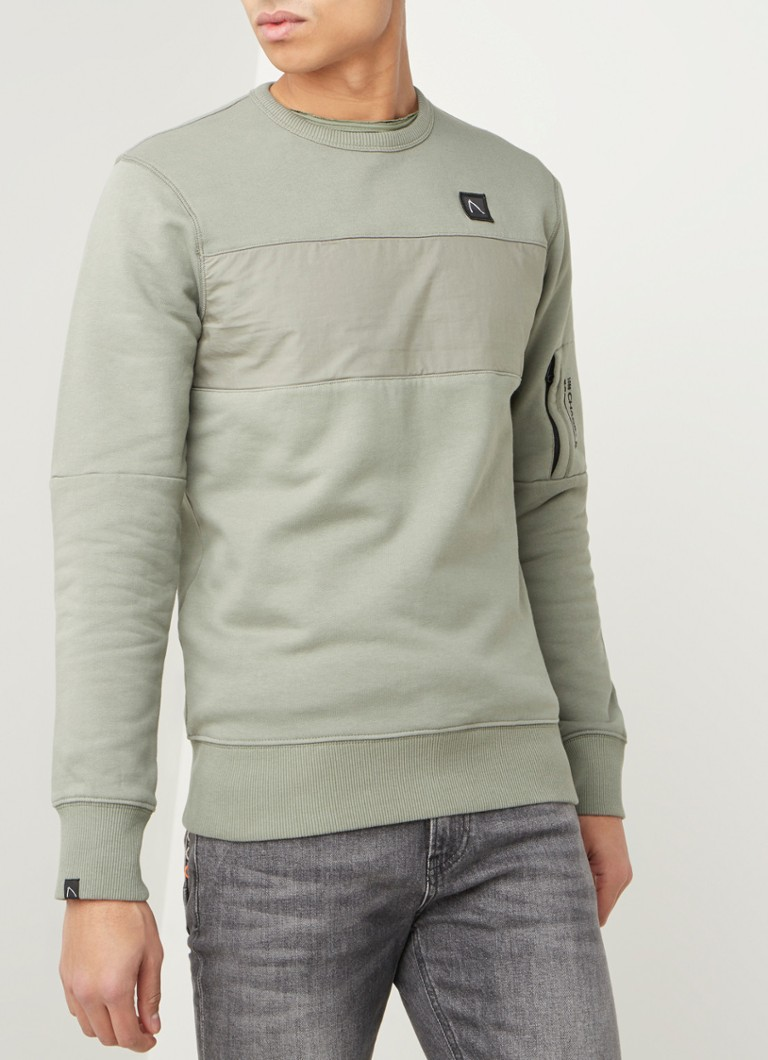 CHASIN' - Low sweater met streepdetail  - Mosgroen