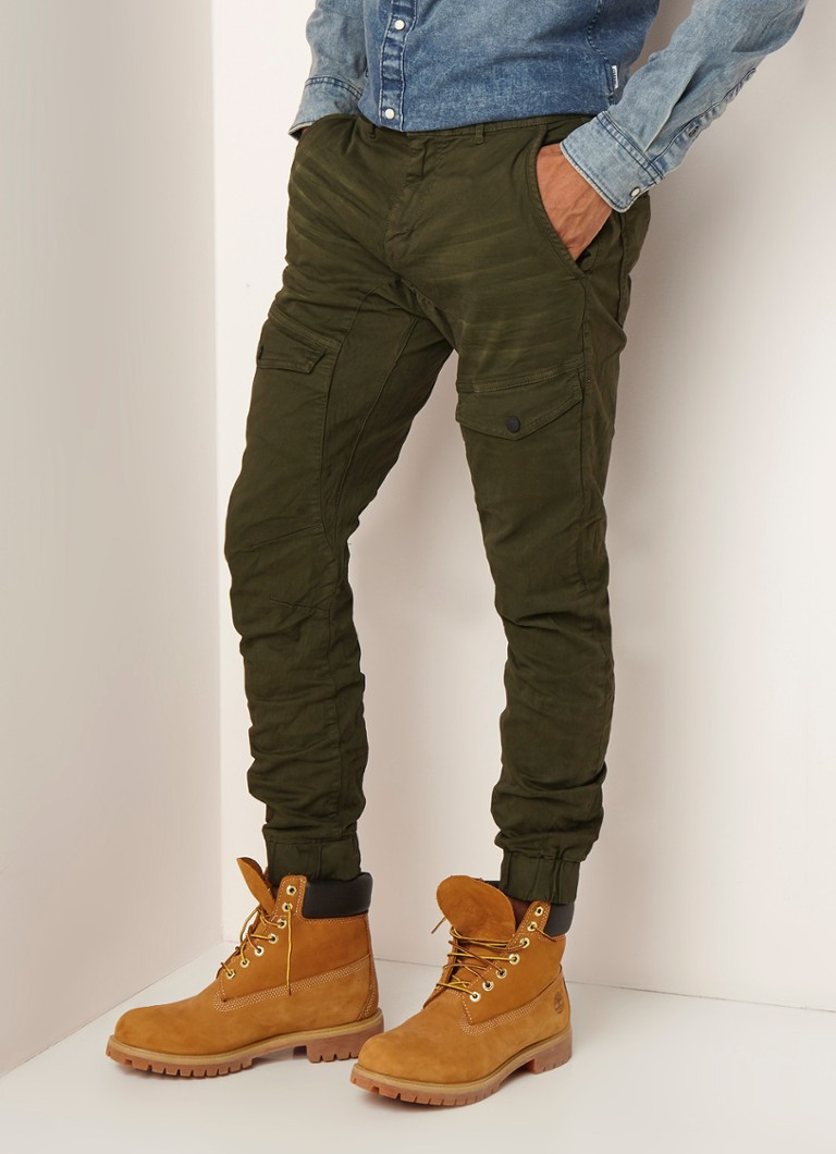 CHASIN' - Nero L. Holt slim fit cargobroek met stretch - Legergroen