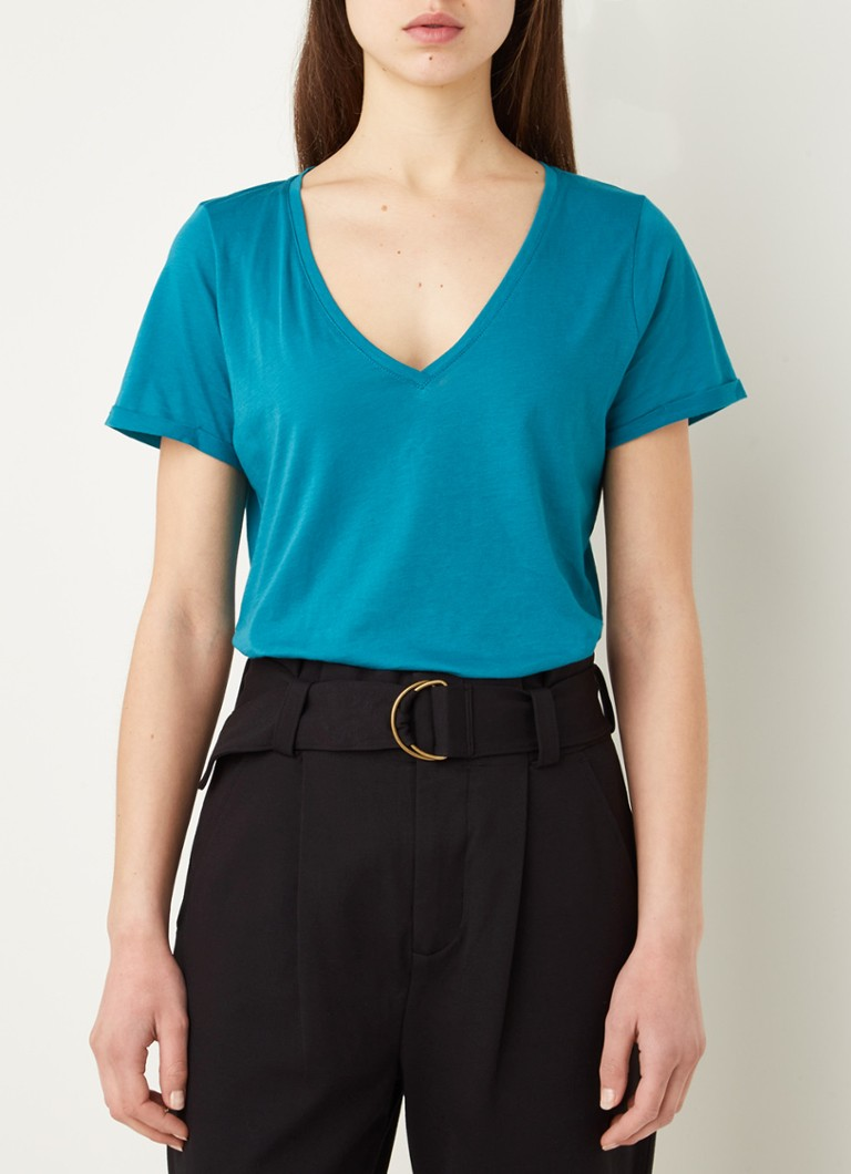 Claudia Sträter - Lounge T-shirt met V-hals - Turquoise