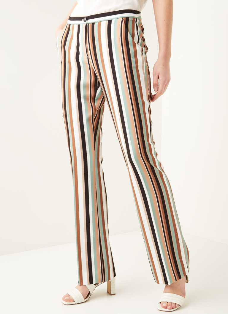 Claudia Sträter - Mid waist flared fit pantalon met streepprint - Multicolor