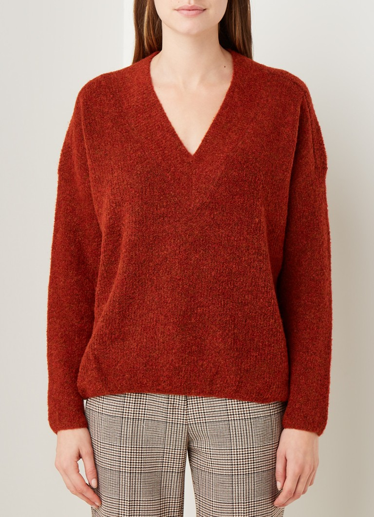 Claudia Sträter - Pullover in wolblend met V-hals - Rood