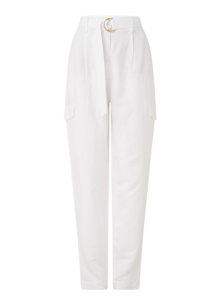Claudia Sträter - Rory high waist tapered fit cargobroek  - Wit