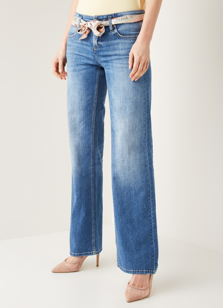 Claudia Sträter - Tess high waist wide leg jeans met stretch - Indigo