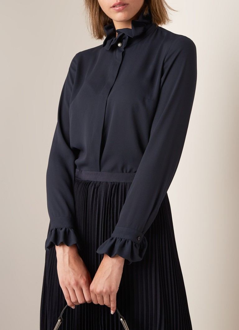 Claudie Pierlot - Colombeflouh blouse met ruches  - Donkerblauw