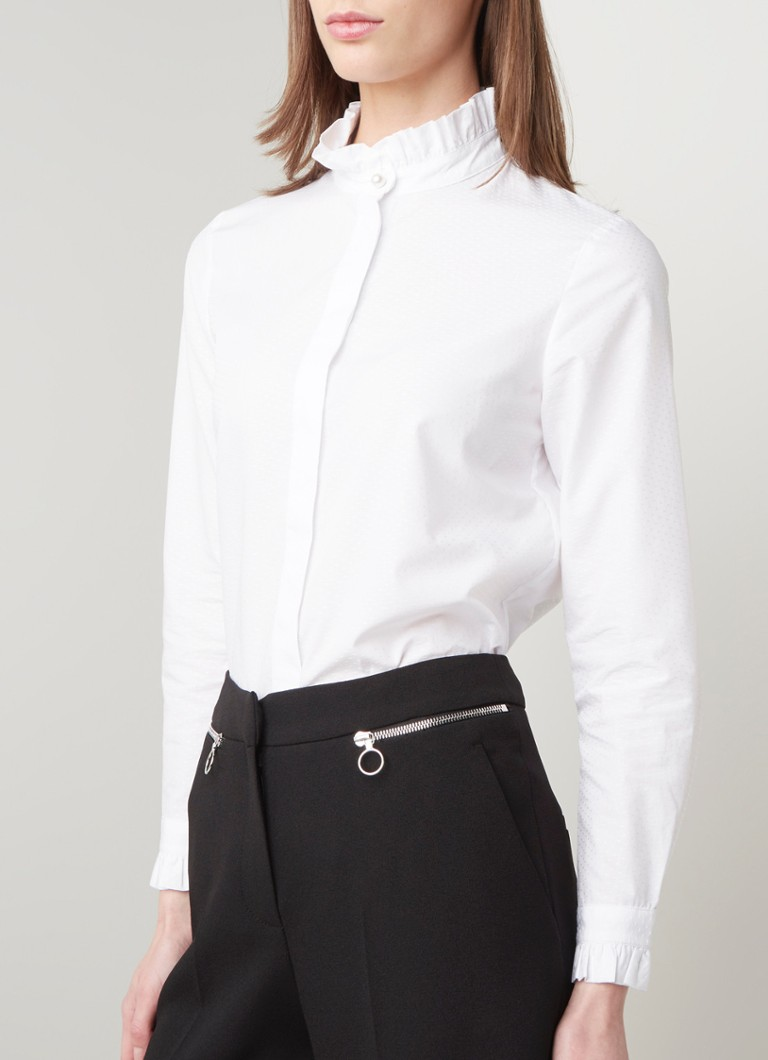 Claudie Pierlot - Colombineter blouse met stippendessin en ruches - Wit