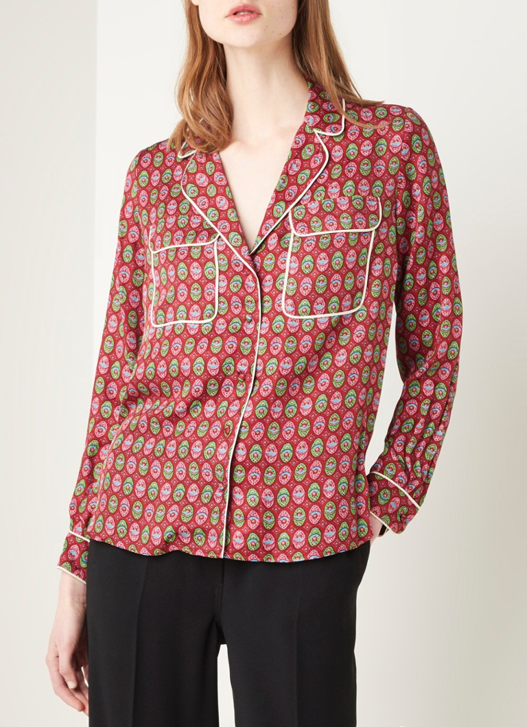 Claudie Pierlot - Cyrielle blouse in pyjama look met borstzakken - Bordeauxrood